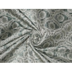 "SILK BROCADE FABRIC Teal & Grey colour 44""BRO169[6]"