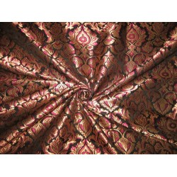 Heavy Silk Brocade Fabric Pink,Black & Metallic Gold 44""