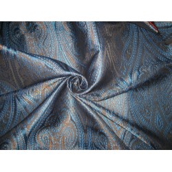 Silk Brocade Fabric Black,Blue & Metallic Gold color 44""
