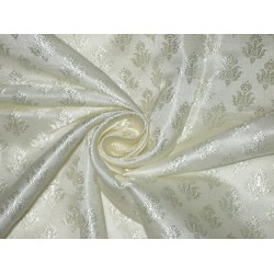viscose Silk Brocade fabric Ivory cream 44""
