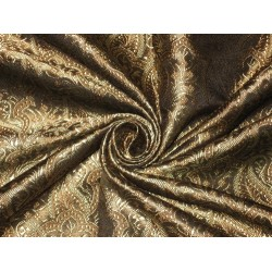 viscose Silk Brocade fabric black,brown & gold 44""