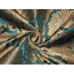 Heavy Silk Brocade Fabric Peacock Blue & Metallic motifs