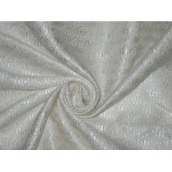 Spun Silk Brocade Fabric Ivory color 44""