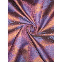 Spun Silk Brocade Fabric Iridescent Blue & Metallic Bronze