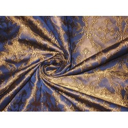 Silk Brocade Vestment Fabric Blue & Brown 2 Toned 44""
