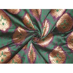 Silk Brocade Fabric Green,Purple & Metallic Gold 44""