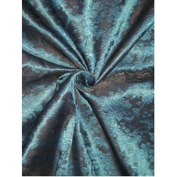 Silk Brocade fabric Kingfisher Blue & Black 44""