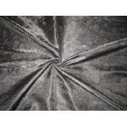 "SILK BROCADE FABRIC Jet Black colour 44"" BRO176[5]"