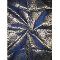 Heavy Silk Brocade Fabric Metallic Gold & Dark Blue