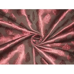 Spun Silk Brocade Fabric Dark Red Wine x Black Shot 44""