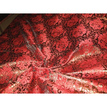 """Polyester Brocade Fabric Red and Metallic Brown 44""""BRO82[4]  by the yard"""