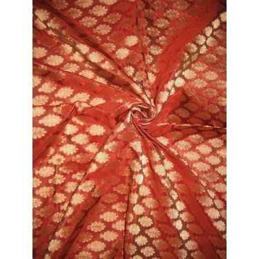 """100%Pure Silk Brocade Fabric Rust with Antique Gold 44"""""""