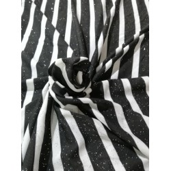 Polyester lycra knitted striped fabric with shimmer black and white