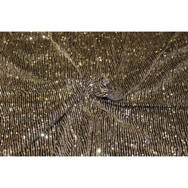 Black  Net Fabric with   gold  color SEQUENCE  58'' Wide FF25[5]