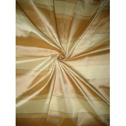 "100% Pure Silk Taffeta Fabric Gold,Cafe Creme & Golden Cream stripes color  54"" wide sold by the yard"
