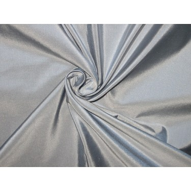 """Pure SILK TAFFETA FABRIC Light Blue with Silver Shot 54"""" wide sold by the yard"""