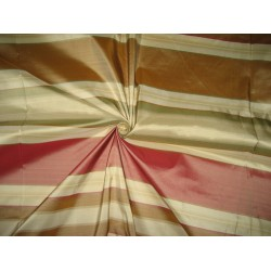 "Silk Taffeta Fabric Light Red,Green,Brown & Gold stripe 54"" wide sold by the yard"