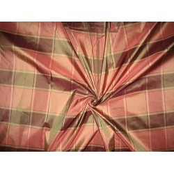 "Silk Taffeta Fabric Shades of Pink & Green plaids 54"" wide sold by the yard"