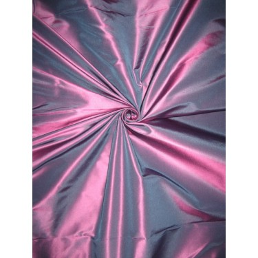 "Pure Silk Taffeta fabric~Blue with Pink Shot color TAF180[2] 54"" wide sold by the yard"