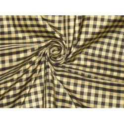 "SILK TAFFETA FABRIC Black,Gold & Grey Colour plaids 54"" wide sold by the yard"