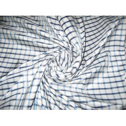 "Turquoise blue, steel grey & white colour gorgeous plaids SILK TAFFETA FABRIC 54"" wide sold by the yard"
