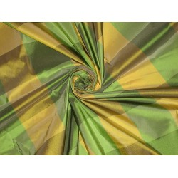 "Silk Taffeta Fabric Green & Yellow colour plaids 54"" wide sold by the yard"