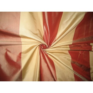 """Silk Taffeta Fabric Light Gold & Cherry Red Stripes 54"""" wide sold by the yard"""