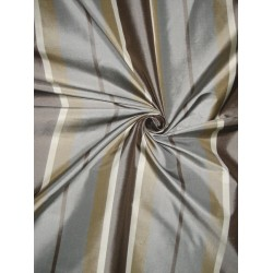 "Silk Taffeta Fabric Shades of Brown & Blue Stripes 54"" wide sold by the yard"