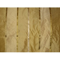 Silk Taffeta Fabric shades of gold with satin stripes