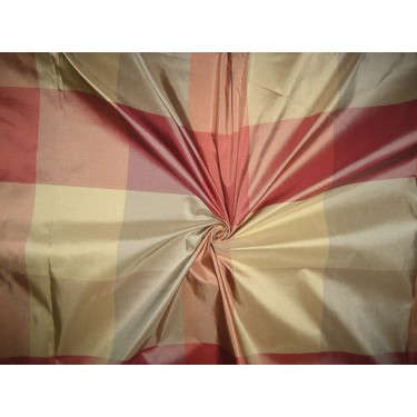 """100% Pure Silk Taffeta Fabric SHADES OF GREENS AND DUSTY ROSE PINKS Multi Color plaids TAFC10 54"""" wide sold by the yard"""