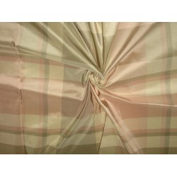 "100% Pure Silk Taffeta Fabric Pink,Grey & Cream plaidsTAFC32[4] 54"" wide by the yard"