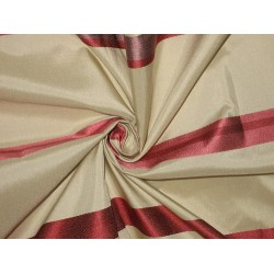"100%  Silk Taffeta Fabric Champagne with satin stripes 54"" TAF#S91 by the yard"