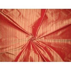 Silk Taffeta Fabric Dark Coral with Red Satin stripes