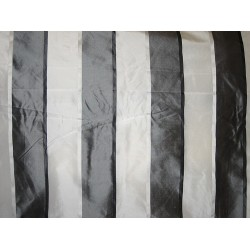 "Silk Taffeta Fabric Charcoal & Ivory satin stripes 54"" wide sold by the yard"