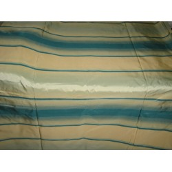 "Silk Taffeta Fabric Shades of Icy Blue & Gold stripes 54"" wide sold by the yard"