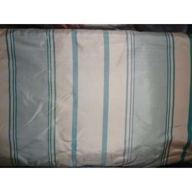 Silk Taffeta Fabric Icy Blue & butter Gold stripes*