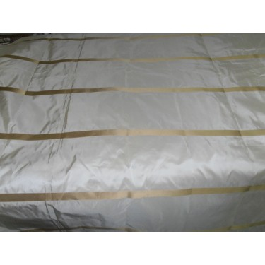 """SILK TAFFETA FABRIC CHAMPAGNE WITH GOLD SATIN STRIPES TAFS124 54"""" wide sold by the yard"""