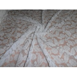 devore Polyester viscose burnout white Velvet fabric  *