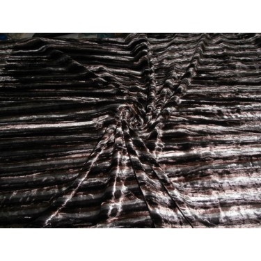 """100% crushed Velvet fabric 44""""-discharge printed-brown stripes"""