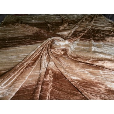 """100% crushed Velvet fabric 44""""-printed-3 colour brown stripes"""