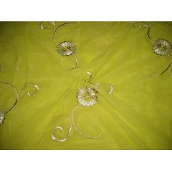cotton voile fabric~Lime Green with embroidery-5 yards