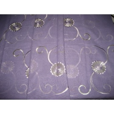 cotton voile fabric~Lavender with embroidery-5 yards