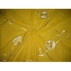cotton voile fabric~Yellow with embroidery-5 yards