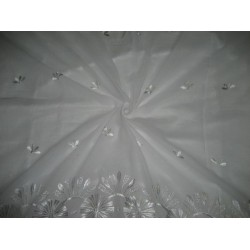cotton voile fabric~White with embroidery-5 yards