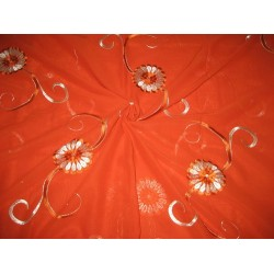 """cotton voile fabric~Orange with embroidery-5 yards-44"""""""