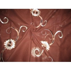 """cotton voile fabric~Brown with embroidery-5 yards-44"""""""