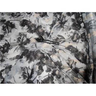 """Polyester Georgette 44"""" Wide ~ Blueish Grey Color Printed"""
