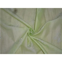 """Pistachio Green Linen Fabric 54"""" Embroidered"""