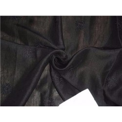 """Jet Black Linen Fabric 54"""" Embroidered"""