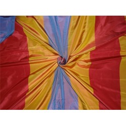 """100% Pure Silk Taffeta Fabric Gold,Red x Blue Stripes  54"""" wide sold by the yard"""